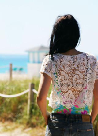 Miami Beach plage ocean océan drive dentelle top crop maillot de bain une piece motif floral