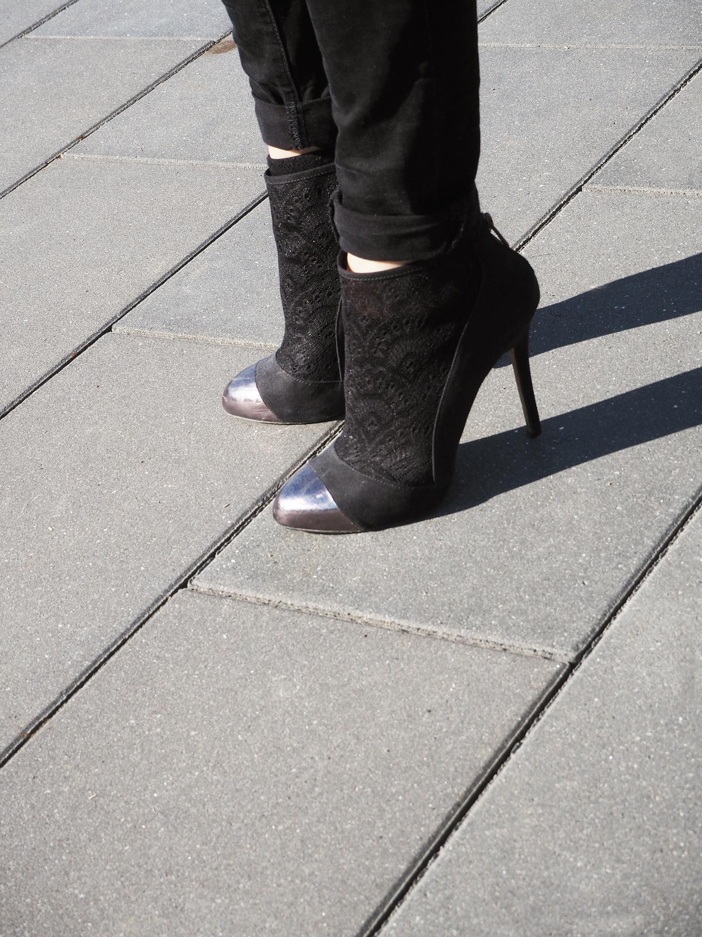 photoprint cache cache shoes chaussures talon femme zara dentelle jean only