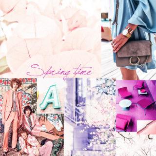 spring moodboard planches tendances trends 2017 couleurs pastels rose pink oranger violet fleurs fleuri sac chloé pinterest femme women montre cluse