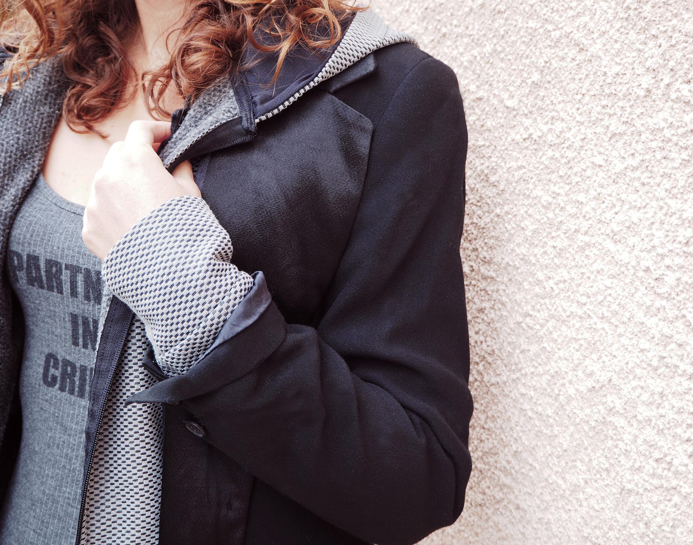 body undid partner in crime veste costard costume sport sportswear gris grey noir black satin coton