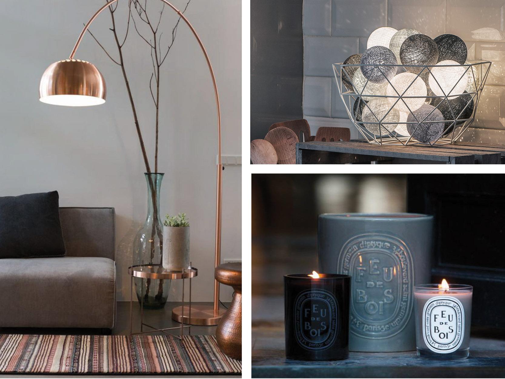 hygge douceur tendances trends luminaires lampadaire ampoule guirlande la case de cousin Paul bougies naturelles